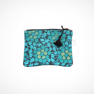 Pochette kantha Small Fleurs turquoises Claire Beaugrand