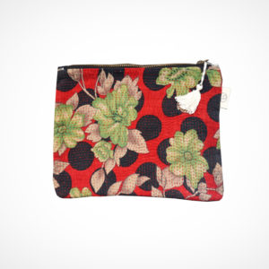 Pochette kantha XL fond rouge Claire Beaugrand