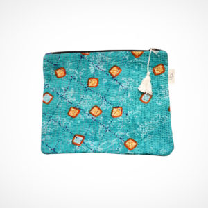 Pochette kantha XL turquoise Claire Beaugrand