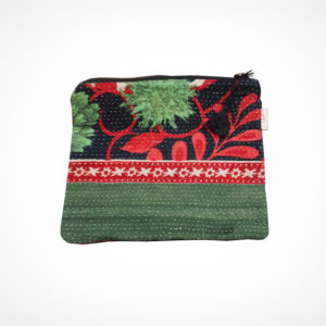 Pochette kantha XL vert et rouge Claire Beaugrand